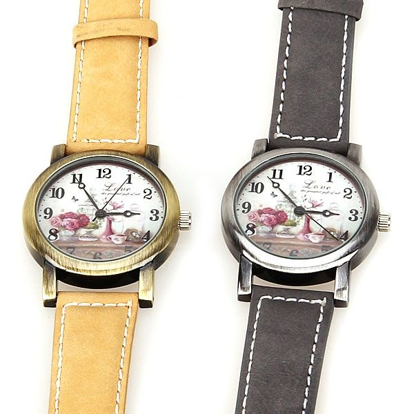 Astina Quartz Watch with Arabic Numbers Indicate Leather Watchband for Women (Yellow)