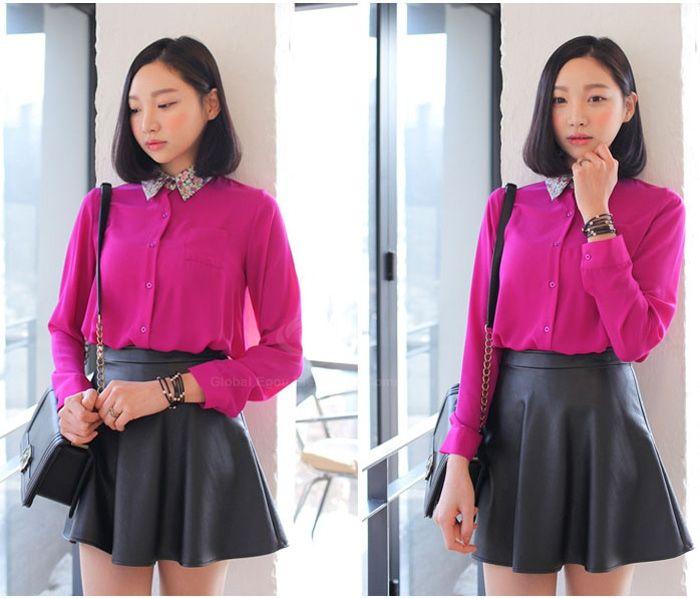 Women's Stylish Slim Synthetic Leather High Waist Pleated Mini Skirt