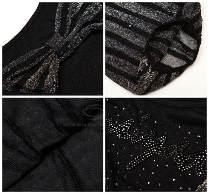 Classic Stripes Cowl Neckline 1/2 Sleeve Women's Bodycon Dress