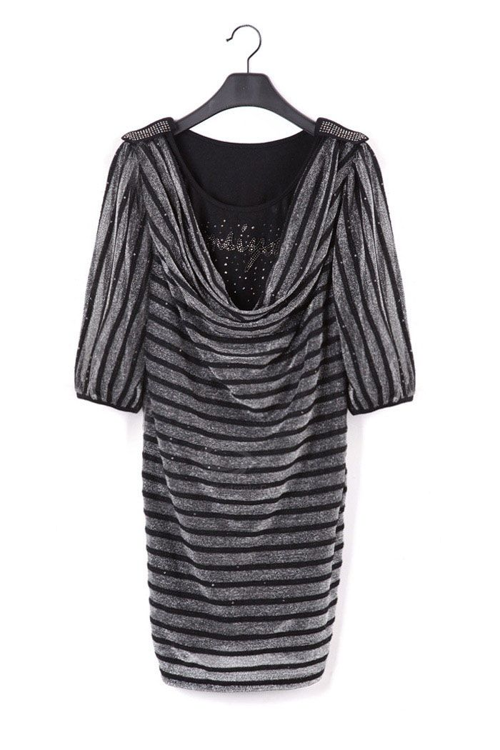 Classic Stripes Cowl Neckline 1/2 Sleeve Women's Bodycon Dress