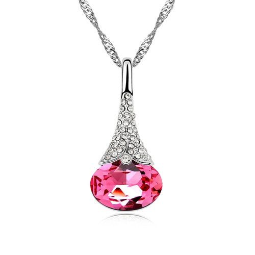 Rhinestoned Waterdrop Pendant Necklace