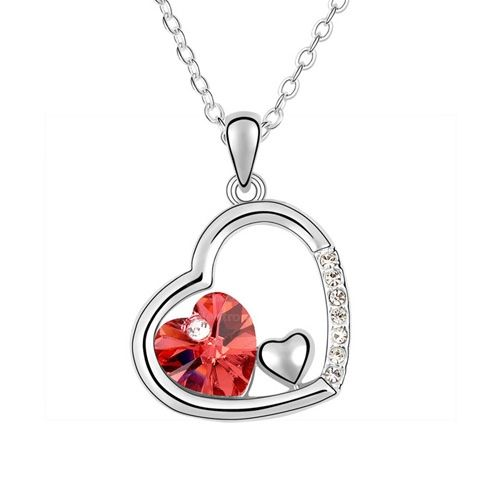 Rhinestoned Heart Pendant Necklace