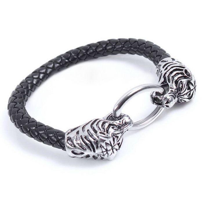 Punk Tiger Head Shaped Oval Alloy Fastener Leather Band Bracelet