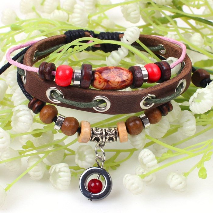 Beads Embellished PU Leather Bracelet