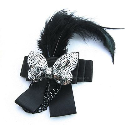 Elegant Black Feather Embellished Sequin Women's Bowknot