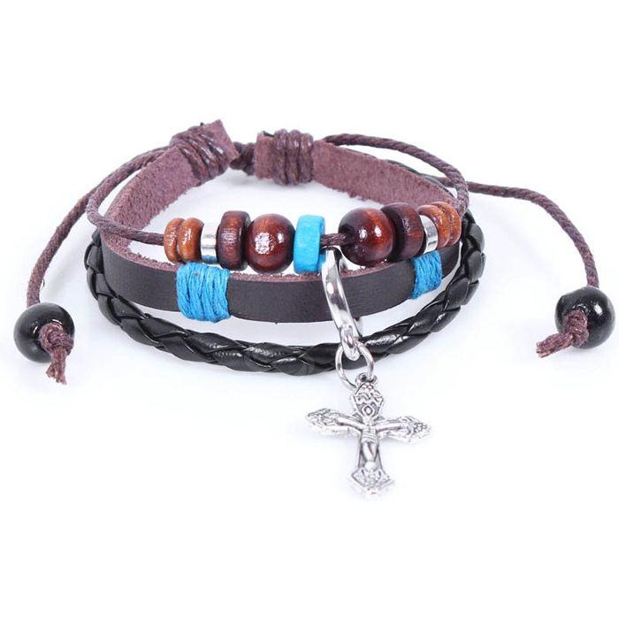 Beading Cross Pendant Faux Leather Bracelet