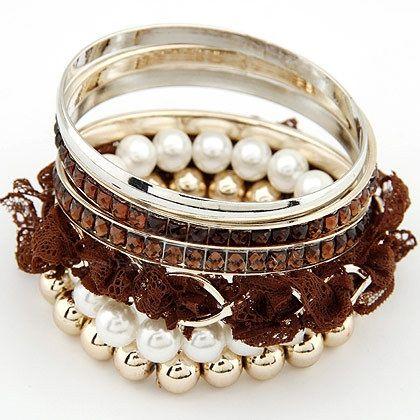 6PCS Faux Pearl Lace Beads Rhinestone Embellished Multi-Layered Bracelets