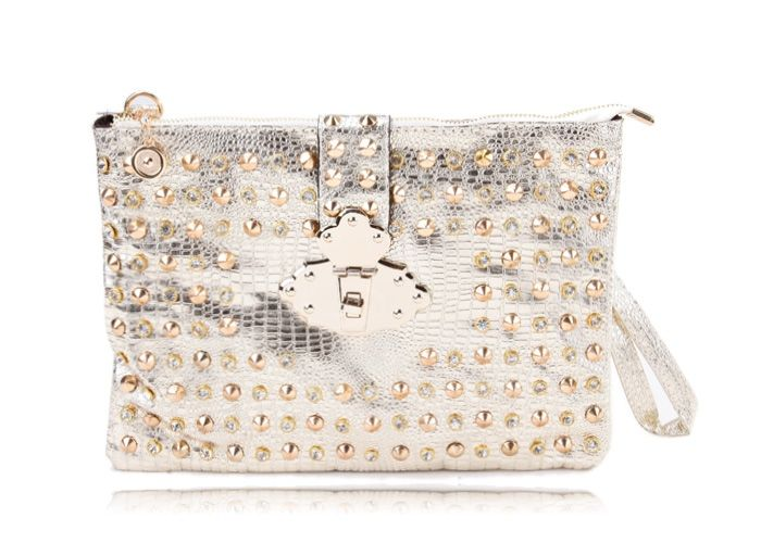 Stylish Style Party Rivets and Metallic Design Women's Clutch