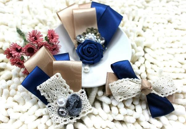 3PCS of Lace Bowknot Embellished Ribbon Brooches