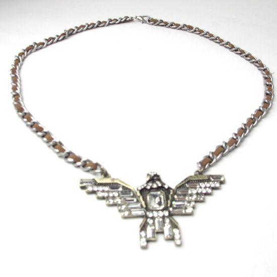 Vintage Rhinestoned Eagle Pendant Men/Women's Necklace