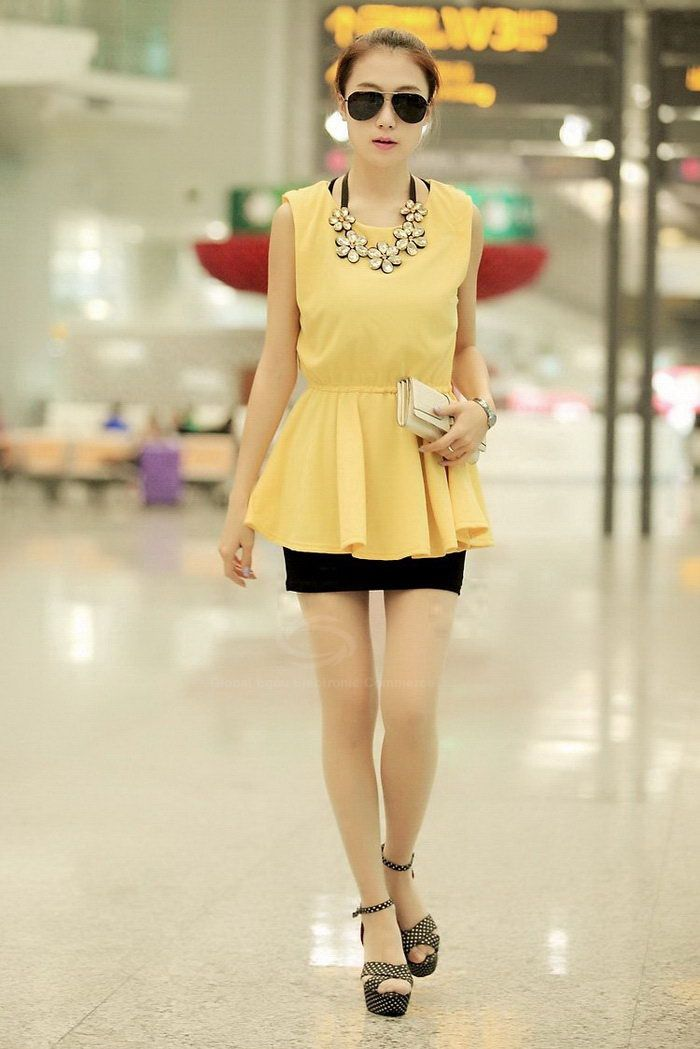Scoop Neck Sleeveless High-Waist Solid Color Chiffon Sweet Style Women's Blouse