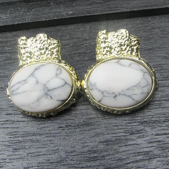 Pair of Faux Gemstone Embellished Earrings