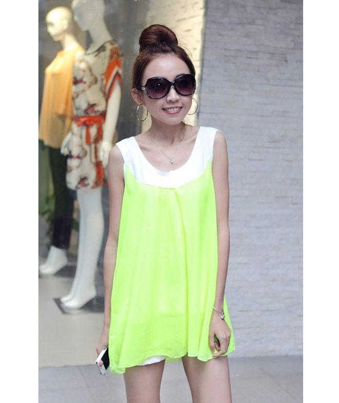 Popular Plus Size Sleeveless Chiffon Women's Summer Blouse