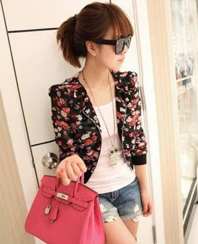 Stylish Scoop Neck Floral Print Zipper Shoulder Pad Chiffon Women's Coat