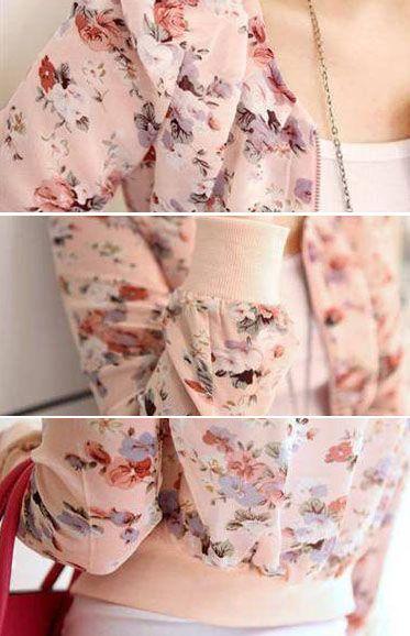 Stylish Scoop Neck Floral Print Zipper Shoulder Pad Chiffon Women's Coat