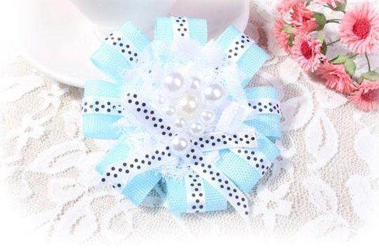 Cute Faux Pearl Embellished Flower Shaped Women's Lace Ribbon Brooch