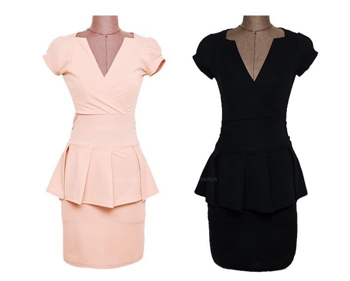 Enchanting Deep V-Neck Pleated Cap Sleeve Women's Club Dress