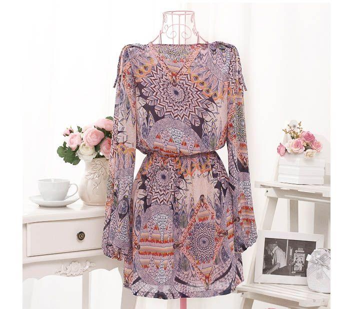 Ladylike Vintage Print Long Sleeve Women's Chiffon Dress