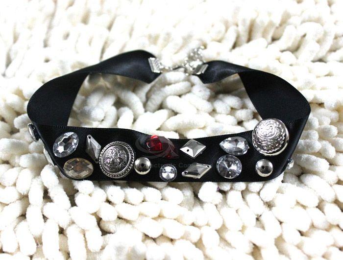 Punk Style Gemstone and Stud Embellished Men and Women's  Ribbon Necklace