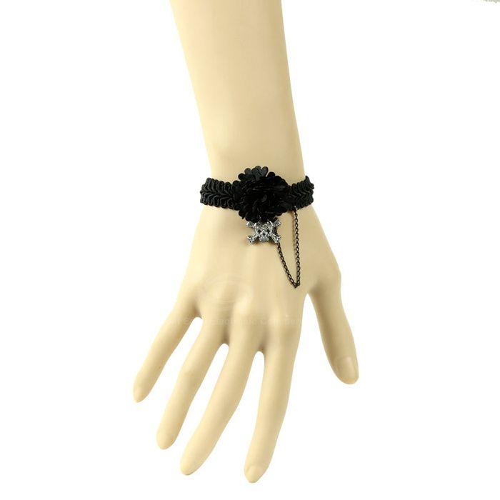 Punk Style Lace Flower Shape and Skullcandy Embellished Women's Tassel Bracelet