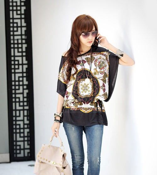 Short Sleeves Chiffon Special Print Scoop Neck Simple Style Women's Blouse