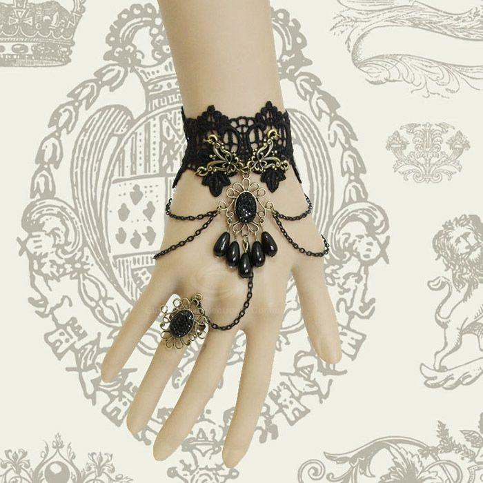 Retro Beads Rhinestone Tassels Decorated Lace Bracelet With Ring