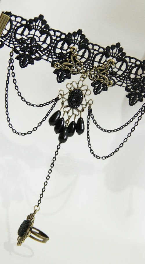 Retro Beads Rhinestone Tassels Decorated Lace Bracelet With Ring