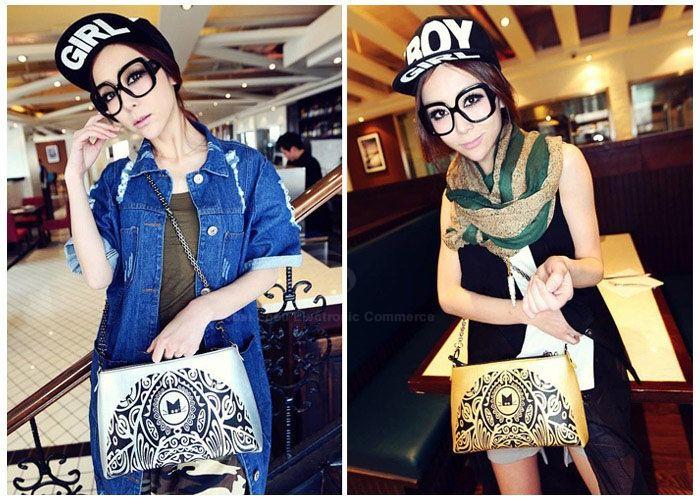 Vintage Style Color Matching and Floral Print Design Women's Shoulder Bag