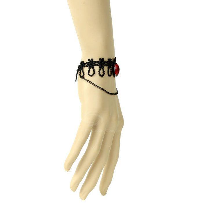 Punk Rhinestone Embellished Lace Bracelet
