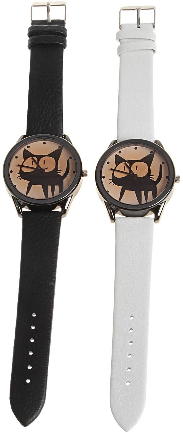 Kuromi Quartz Watch with Dots Indicate Dial Leather Watchband for Women (White)