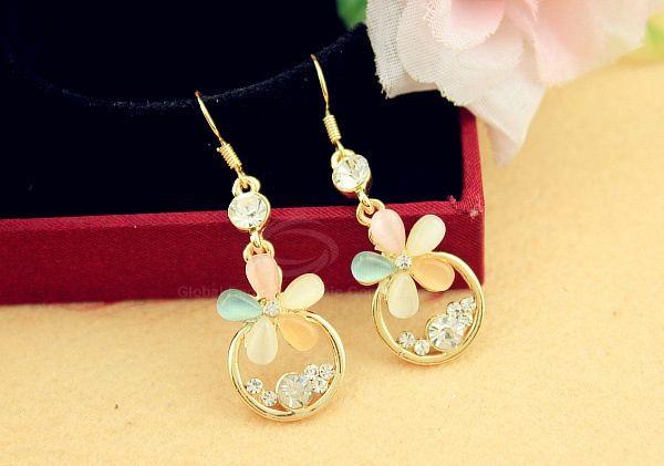 Multicolor Flower Rhinestone Drop Earrings