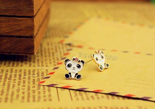 Pair of Alloy Panda Shape Rhinestone Embellished Stud Earrings