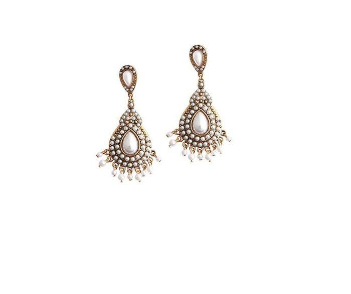 Pair of Ethnic Faux Pearl Drop Earrings