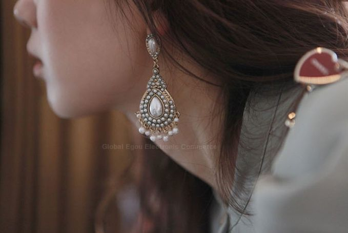 Pair of Ethnic Faux Pearl Drop Earrings