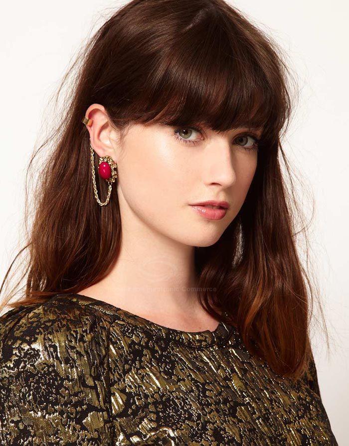 Faux Gemstone Embellished Alloy Long Tassels Earring