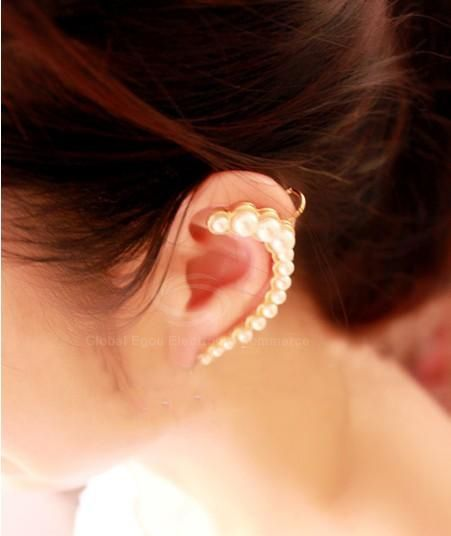 Chic Style Solid Color Beads Embellished Women's Falcate Clip Earring