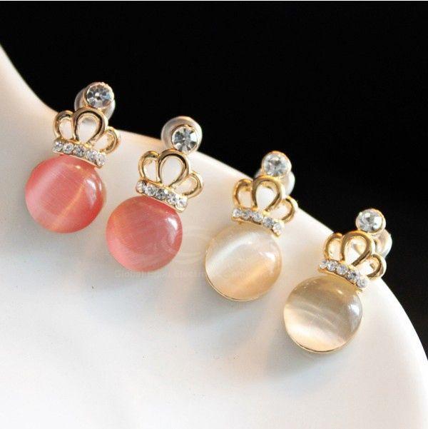Crown Shape Faux Opal Rhinestone Embellished Earrings