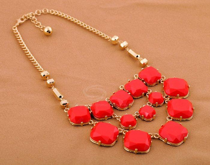 Alloy Multilayered Faux Gemstone Embellished Necklace