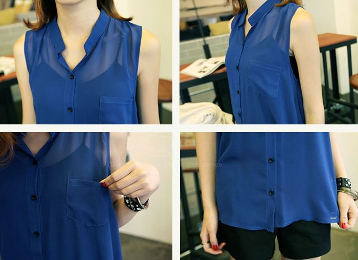 Sleeveless Stand Collar Single-breasted Sweet Casual Women's Blouse