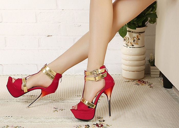 Trendy Style Stiletto Heel and Double Buckle Design Women's Sandals
