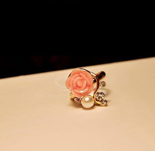 Faux Pearl Rhinestone Flower Ring