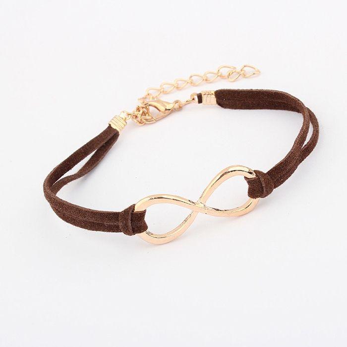 Faux Leather Adjustable Infinity Bracelet