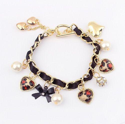 Bowknot Heart Pendant Faux Pearl Alloy Bracelet