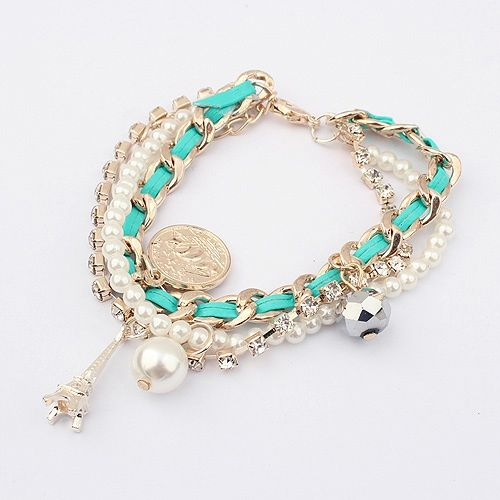 Faux Pearl Pendant Multilayered Alloy Bracelet