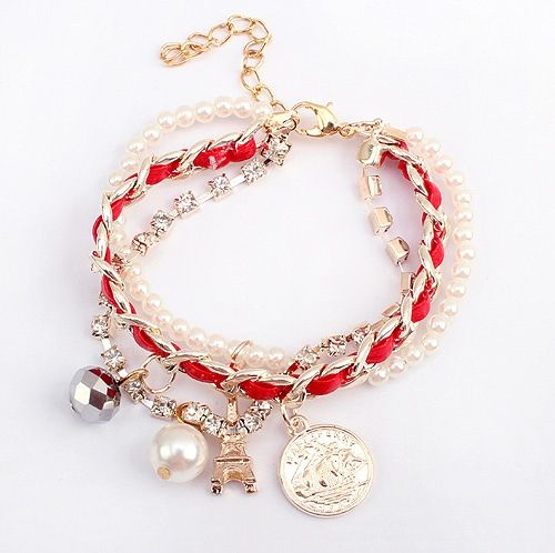 Faux Pearl Pendant Multilayered Alloy Bracelet