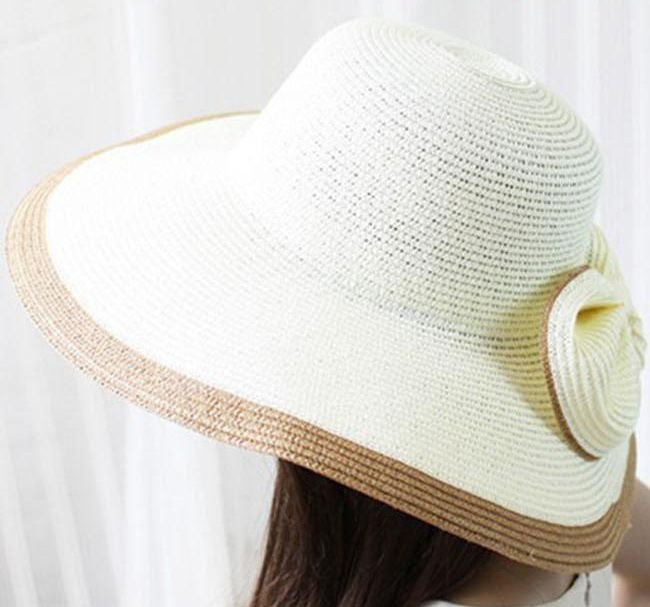Exaggerated Bicolor Bowknot Embellished Women's Broad Brim Straw Cap