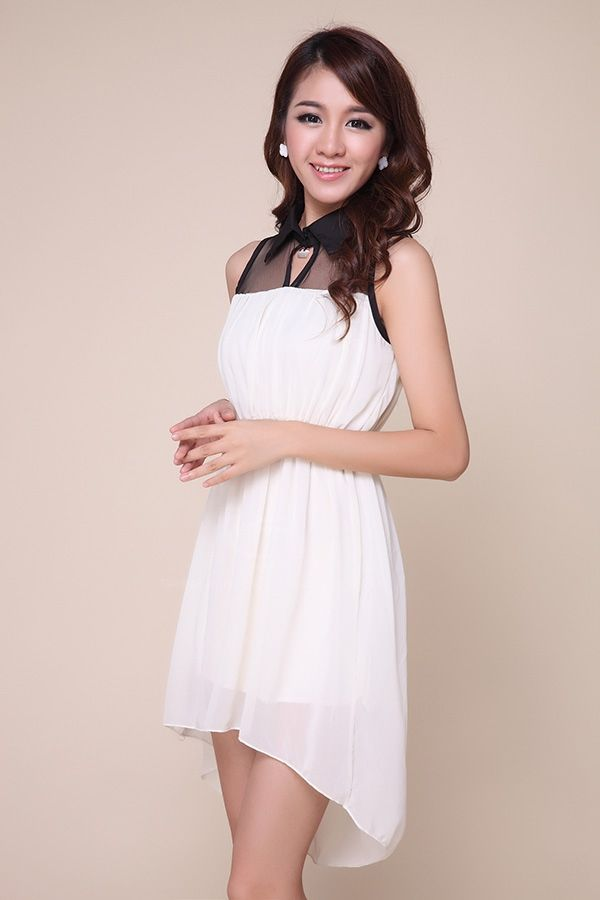 Fashionable Polo Neck Sleeveless Mesh Splicing High-Low Hem Chiffon Women's Dress
