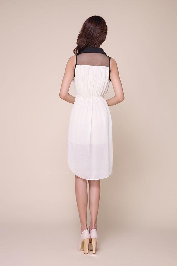 Fashionable Polo Neck Sleeveless Mesh Splicing High-Low Hem Chiffon Women's Dress