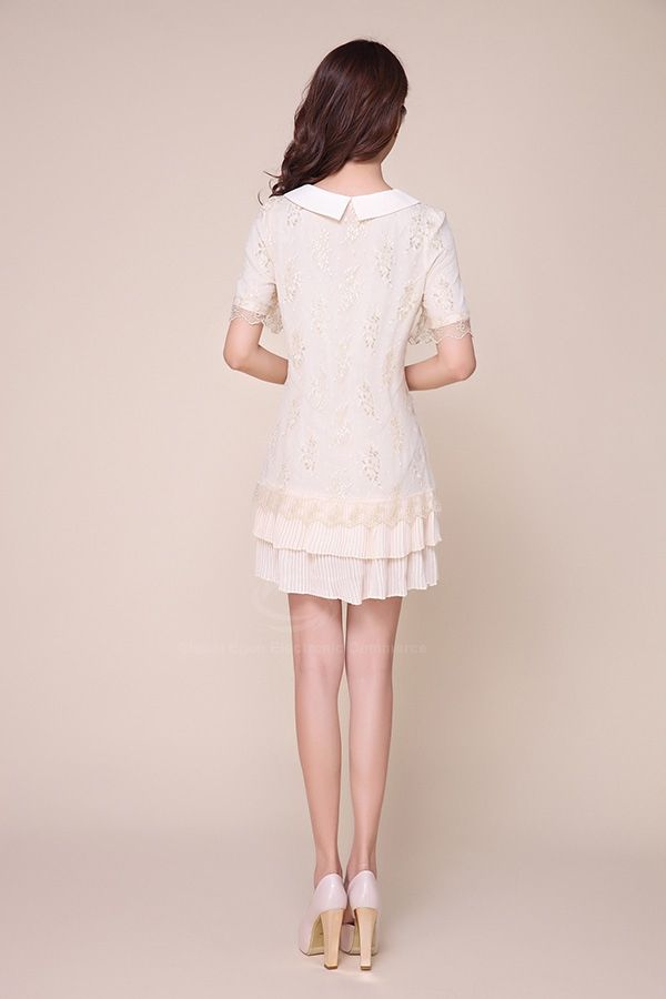 Cute Peter Pan Neck Bowknot Splicing Lace And Chiffon Women's Dress