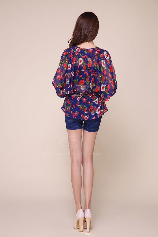 Ethnic Style Plunging Neck Floral Print Chiffon Women's Blouse